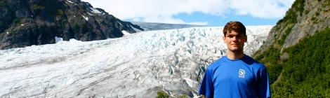 Author and Exit Glacier on the Harding Icefield Trail.