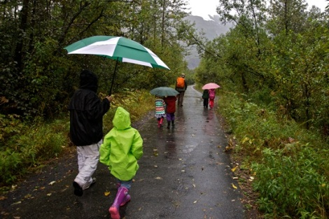 Author and students at Exit Glacier